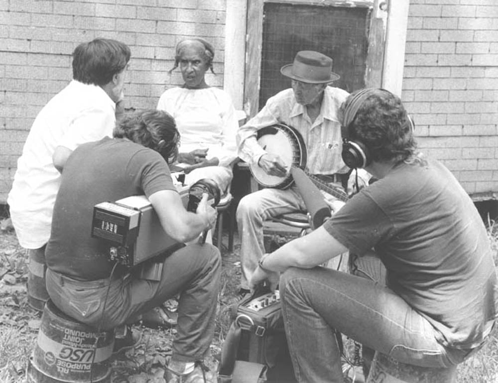 Alan Lomax and crew at the home of old-time banjo player Dink Roberts, in Haw River, NC, 1983