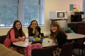 Greenbrier East sophomores, Sarah Fullen, Mary Claire Ickes and Hannah Rivoire assisted with September Entrepreneur Café competition and will be eligible to compete for WVU Business Plan next year for a $10,000 WV college scholarship