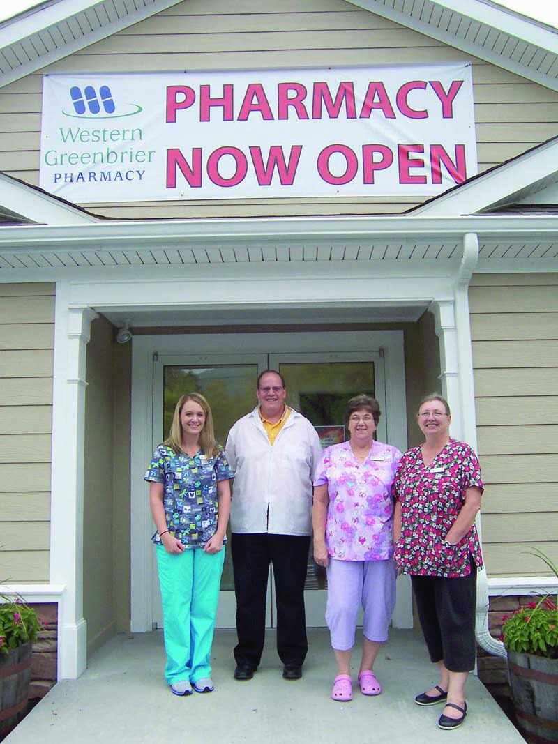 Western Greenbrier Pharmacy staff members reporting to work on opening day are: technician Seasen Lilly; Pharmacist Bob Week, R.Ph.; technician Barb Redden and technician Pam Bowes. Not pictured are Kathy Hudson and Kim Nutter.
