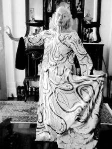 """Eileen Cramer modeling an original costume she made and wore in the dance drama """"Pilgrimage of Truth"""""""