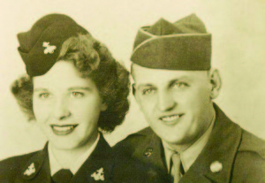 Martha B. (Baxter) Frye, US Navy Aviation Machinist's Mate Second Class, Atlanta Naval Air Base and Wilbur E. Frye, US Army Technician 5th Grade, Third Armor Division 703rd Tank Destroyers Battalion (Photo courtesy Jay Frye)