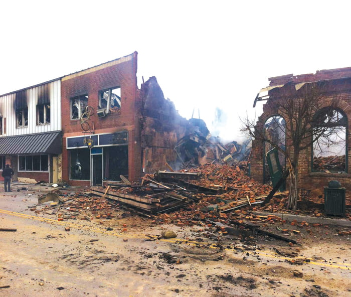 Aftermath of the Marlinton fire that took four downtown buildings and left seven families homeless. (Photo composite by Chuck Workman)