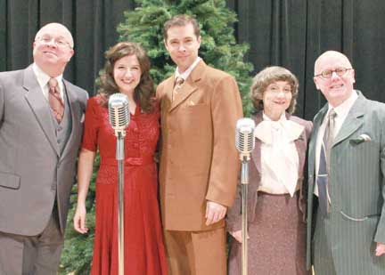 The Cast of It's A Wonderful Life: A Live Radio Play - Lee Blair (left), Hannah McGinley, Joe Lehman, Andrea McCullough and Kermit Medsker. (Photo courtesy of Greenbrier Valley Theatre)