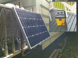 Solar panel. Inset: Toolbox on wheels
