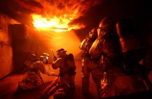 firefighters put out home fire