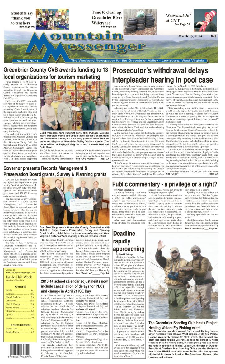 eMessenger for March 15, 2014