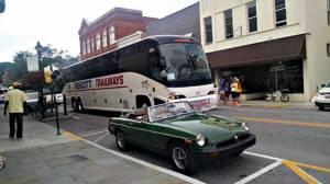 The Saints' buses were seen touring through Lewisburg late Tuesday afternoon shortly after their arrival in WV (Photo by Shannon Beatty)