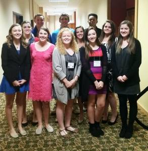 """The Greenbrier East High School FBLA (Future Business Leaders of America) Chapter attended the State Fall Leadership Conference on Oct. 6 and 7 in Flatwoods. The entrepreneur team, that included Katlynn Boyd, Daisy Lively, and Malachi McCutcheon, placed 1st in the """"Dolphin Tank"""" competition, winning $500. The team had to prepare and present a business plan. Their plan included the idea of """"G.R.O."""" - Greenbrier Recreational Outreach. The students look forward to presenting their project again at the state level competition in the spring. Also, two students won individual competitions. Marisha Carpenter earned first in the Economics category and Sarah Feamster placed first in the Business Law category. GEHS students that also participated in the conference included: Karee Diem, Claire Perkins, Kris McMillion, Isaiah Godfrey, Hannah Rivoire and McKenzie Brown. Several schools from around the state participated in the conference.  The advisors for the GEHS FBLA chapter are Sharon Wolfe, Tiffany McMahan and Kristi Haddox."""