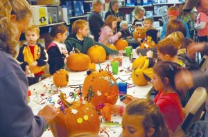 Pumpkin Day was in full swing on Saturday at S.J. Neathawk Lumber Company as children crowded around the tables to decorate pumpkins in time for Halloween.