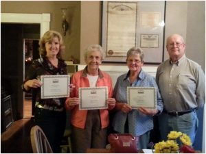 Sherry McCormick-Hawkins, Board Member of the Year (left); Betty Ralston, Volunteer of the Year and Lacey and Nancy Thomas representing Ronceverte Feed Store as Business of the Year. (Not photographed: Sonny Zimmerman as City Official of the Year)