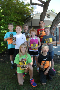 3-5 Grade Level Winners: Front Row: (Overall Champions) Cassidy Kellison (left) and Dawson Trusty; Middle Row: Zach Reed (left), Paige Altizer and Harlie Wilson; Back Row: Austin Hoke (left), Gracie Roberts and Gavin Eskins