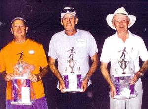 Three of the four winners of the Open Men Division Championship Class who recently participated in the 77th annual State Singles National Horseshoe Pitchers Association (NHPA) Sanctioned Tournament held within the East Marion Park of Fairmont: Allen Withrow of Ronceverte (left), Roger Carter of Panther and Doug Cook of Bluefield. The 2015 West Virginia Horseshoe Pitchers Association (WVHPA) State Singles Championships Tournament will be held in Ronceverte.