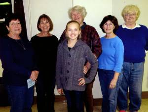 Autumn Hudson (center), sponsored camper at the Junior Conservation Camp, and members of the RWC Conservation Committee, Kathleen Williamson (left), Jeanne Bostic, Sandra Walton, Susan Morgan and Beverly Boswell