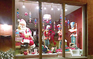 Harmony Ridge presents a shining example of the Old Fashioned Christmas window dressing in Lewisburg's downtown area. Judging for the window decorating contest is set for Friday, Nov. 21. (Photo by Shannon Beatty)