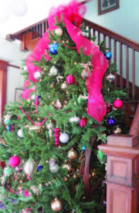 Beautiful Christmas tree in an entry hall during 2012 Christmas Homes Tour