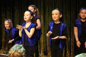 Emmeline Mester, Lily Dense, Autumn Rudd, Delia Teaney and Grace Crickenberger in 2014 Tots Spring Showcase Puppets on Broadway (Photo courtesy Greenbrier Valley Theatre)