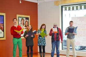 Carolers sing holiday favorites at the Greenbrier Valley Visitors Center (Photo by Sarah Mansheim)