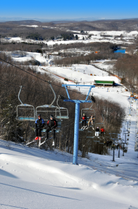 Avid ski fans being lifted towards all kinds of fun at Winterplace Ski Resort