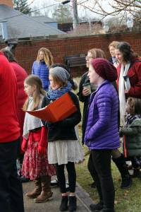 As part of their annual Christmas celebration, Greenbrier Episcopal School students and faculty spent the morning caroling in Downtown Lewisburg on Tuesday, December 23. Each year GES students and staff sing Christmas songs following their closing chapel ceremony at the St. James Episcopal Church.