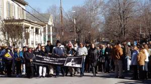 The March and Celebration in honor of Martin Luther King, Jr. Day on Monday, Jan. 19 began, as usual, in front of the Greenbrier County courthouse on Court Street (shown) in Lewisburg. This year saw a large gathering of more than 250 marchers singing We Shall Overcome as they walked up Washington Street to the Lewisburg United Methodist Church, where a community lunch was served followed by a program celebrating the accomplishments of Dr. King. A special tribute to singer, actor, and civil rights activist Harry Belafonte was also featured that day.