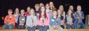 Shaylen Lafferty (front row center) first place finisher, Cole Snyder (front row right) runner-up and Ali Wills (front row left) first alternate