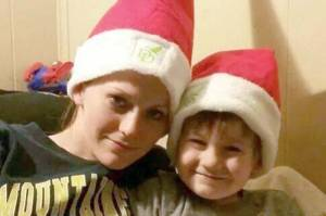 Kayla Dunbar and her four year old son in a Christmas photo on the Gofundme page for the for Kayla Dunbar and Family fundraiser.
