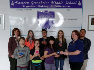 Front: Dallas Erskine (left), Gabby Parker, Christina Hall and Bambi Brooks of First National Bank; Back Row: Katie Ickes of VisAbility (left), Lauren Roach, Brandon Cruz, Amber Ramsey and Neil Jones of Communities in the Schools of Greenbrier County