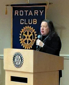 Almost Heaven Habitat for Humanity Director of Resource Development Julia McCoy presents an overview of the nonprofit to Lewisburg Rotary Club on Feb. 2.
