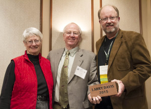 Larry Davis, Ph.D. (center), accompanied by his wife, Ann Davis received a brick with his name on it in the alumni walkway, presented by Mark Waddell, D.O., as an Honorary Alumni Award.