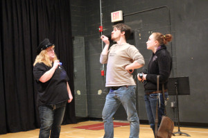 """Carla Maro, Blair Hicks and Kimberly King rehearsing """"Better Late Than Never"""" for The New Voices Play Festival. (Photo courtesy of Greenbrier Valley Theatre)"""