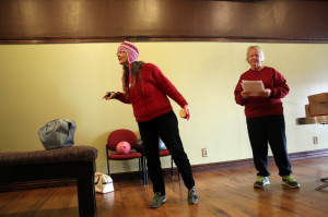"""Lieselotte Heil and Bess Antonelli rehearsing """"Doughnut Hole"""" for The New Voices Play Festival. (Photo courtesy of Greenbrier Valley Theatre)"""