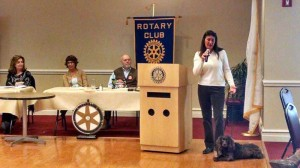 """Local dog trainer Janine Lazarus spoke to Lewisburg Rotarians on Monday and answered some great questions about all things dog training. A few of the more notable comments to questions include the following: When a dog sits, that is a trick. Dogs do not need to sit in nature; they only do it to please us. Wolf hybrids are a bad idea, period. The best age to separate a puppy from the mother is 11 to 12 weeks. The bite inhibition training can come naturally from the litter siblings and mom by 11 weeks as litter-mates protest being bitten by one another, and mom will correct the behavior as well. Taking a puppy home at the conventional eight weeks is fine but then the owner has to teach bite inhibition. Lazarus also stated, """"Dogs have a tendency to live only in the present, which makes them so amenable to training even after aging with bad habits, or experiencing abuse."""""""