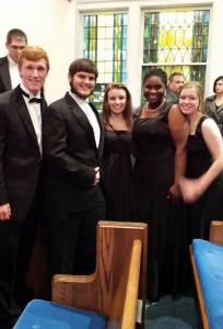 Five members of the Greenbrier East Choirs: Derek Modlin (left), Jacob Sullivan, Jessica Hicks, Joy Adedokun and Cassidy Hicks