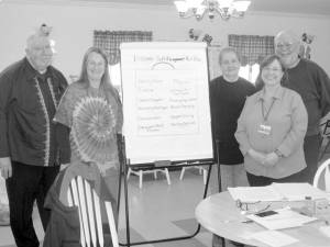 Participants from Diabetes Self-Management Program workshop at the Committee on Aging senior center in Rupert: Gene Cook (left), Trisha Melvin-Somerville, Pat Deitz, Al Bird, with (front right) Carma Korman, workshop leader from Robert C. Byrd Clinic.