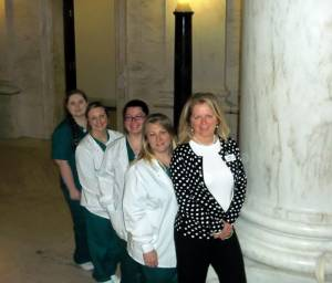 Vanessa Bailey and New River CTC Student Medical Assistants (from front) Christina Frazer, Dreama Perry, Cassaundra Sibold and Alexis Young attend West Virginia Rural Health Workforce Day on Jan. 22 at the Capitol in Charleston. (Not pictured, but also in the program: Tara Campbell, Tara Burns, Catherine Rich and Kristina Ward.)