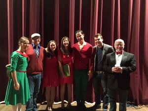 Members of Kermit's Kabaret, December 2014, Micah Labishak (left), Kenny Wade Marshall, Kim Morgan Dean, Hannah McGinley, Jacob Thompson, Will Nash and Kermit Medsker, as Master of Ceremonies. (Photo courtesy Greenbrier Valley Theatre)