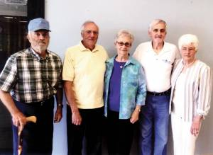 Renick High School Class of 1956 celebrated their 59th anniversary May 9, 2015, at Dutch Haus Restaurant in the Greenbrier Valley Airport. In attendance were: Shirl Montgomery (left), Donald Blake, Sr., Velma Williams Burleson, Davis Cox and Corrine Paulin Grizzel.