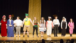 "The Company: Madison Copenhaven, Seth Holcomb, Jara Hall, Jacen Bowyer, Shae Amick, Kaley Vestal, Sarah Brunty, Dwayne McMillion, Kayla Starcher and Nicole Blankenship. Greenbrier West High School's performance of ""Alice In Wonderland."" (Photo courtesy of Greenbrier Valley Theatre)"
