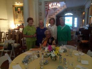 Lewisburg House and Garden Club members enjoyed a covered dish luncheon on May 27, at the residence of Jeanne Hamilton. Pictured: Pat Wingo (left), Karen Lee McClung, Jeanne Hamilton (seated), Townley Hamilton and Joan Montgomery, new Treasurer for the Club.