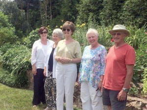 Members of the Lewisburg House and Garden Club were entranced with the discovery of a historic garden hidden from public view on a hillside at Clifton Forge, VA, at the residence of Donald Roberts, who restored the garden the past few years to its former glory. Following the tour of the spacious gardens, some members chatted with Roberts: Peggy Brown (left), Mary Lindquist, Mary Jo Thompson, Polley Cunningham and Roberts, owner of Ridgley Historic Gardens in Clifton Forge, VA, on Wednesday, June 24, completing their field trip of the area.