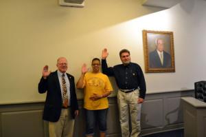 Lewisburg Mayor John Manchester (left) and Council members Beverly White and Joseph Lutz take the oath of office at Tuesday morning's meeting.
