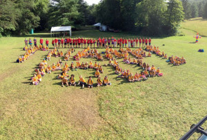 "Kids from the Scout Day Camp spell out a big ""Thank-You"" to all the volunteers and local businesses who donated to the camp, without whom camp would not be possible."