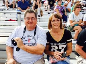 """Danny and Rhonda Lawrence - Concord, NC The Lawrences came from North Carolina because Rhonda is an avid Saints fan.  """"We are excited for both sets,"""" she explained. """"I woke up one evening, watched Monday Night Football, and the Saints were playing and I have been following them ever since."""" (Photo by Leah Deitz)"""