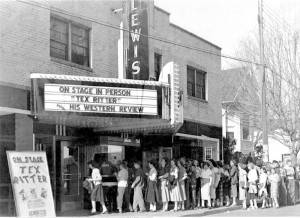 Tex Ritter comes to Lewisburg Theater and draws a long line of fans in circa 1950-60s photo.