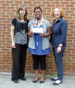 Theresa Winstead, Principal Brittany Anderson and Melinda Russell accept the Mary B. Nickell Grant for Alderson Elementary School