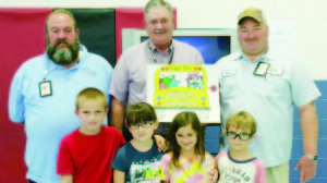 Front Row: John McClung (left), Carlee Dowdy, Beatrix and Oliver Sills from Selena Butler and Deborah Johnson's second grade classes. Back Row: Donald Dowdy (left), George Brooks II and David Alderman.