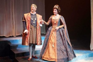 """Aaron Christensen* and Desiree Baxter* as Claudius and Gertrude in GVT's production of """"The Tragedy of Hamlet."""" (Photo courtesy Greenbrier Valley Theatre) *denotes members of Actors' Equity Association"""