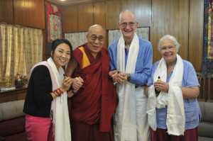 From left to right Minh Chau Le from Ho Chi Minh City, Vietnam, the Dalai Lama, Hanno Kirk, and Jo Weisbrod Photo credit: Dalai Lama Trust.