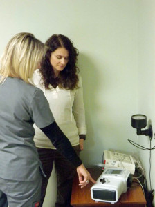 Heather Clawges (right) compares notes with her associate Dianna Forshee, at the Sleep Medicine Center at Greenbrier Valley Medical Center in Ronceverte.