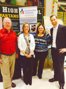 John Manchester, mayor of Lewisburg, Kasey Carter, CIS director, Cindy Solak, CIS site coordinator, and Jordan Maynor, field rep for U.S. Representative Evan Jenkins, at GEHS's Lights On Afterschool event on Oct. 27